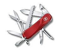 """Нож раскладной Victorinox Delemont """"Evolution 18"""" Швейцарский нож на 12 функций красного цвета"""