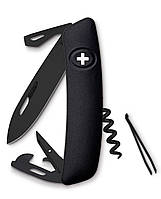 Нож раскладной Swiza D03, all black Швейцарский нож на 11 функций черного цвета