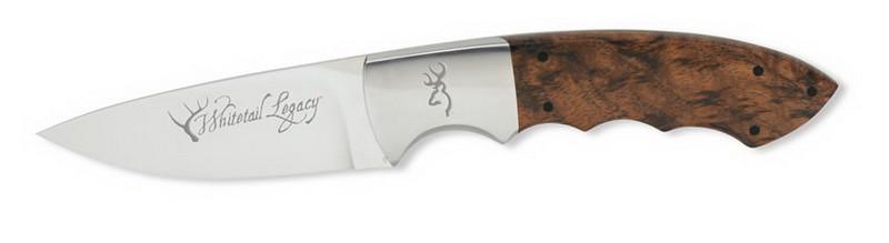"""Нож Browning """"248 Whitetail Legacy"""" / Охотничий нож с деревяной рукояткой серебристого цвета"""