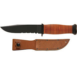 """Нож KA-BAR """" Mark I"""" ,полусеррейтор /Охотничий нож черно-коричневого цвета"""