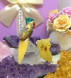 Птичка каменная 12 см. хризоккола, яшма, медовый кальцит, фото 2