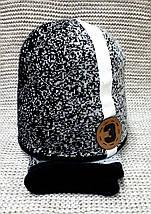 Шапка с хомутом подростковая  на мальчика зима серая (Польша) размер 52 54, фото 2