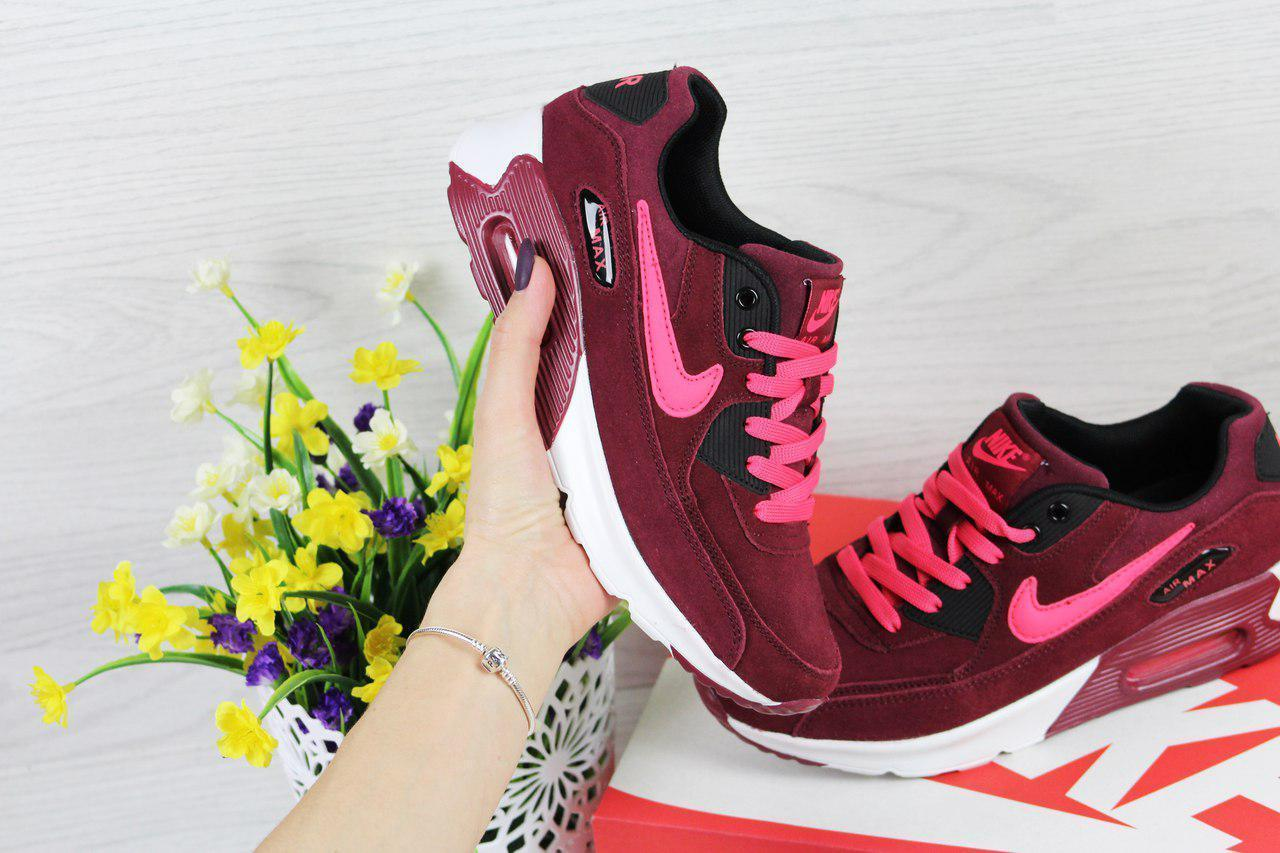 Кроссовки женские Nike Air Max 90 бордовые 4363 (жіночі найк кросовки кроси  взуття спортивне обувь спортивная) 0e0e9a7a8fa79