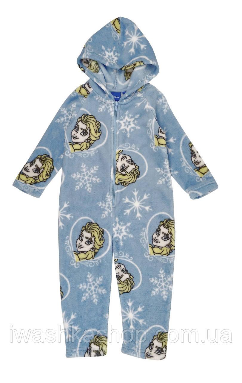 Голубая флисовая пижама - слип из велсофта Frozen, Холодное сердце на девочку 6 лет, р. 116, Disney