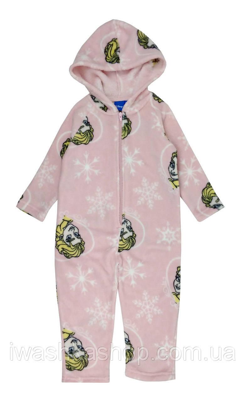 Розовая флисовая пижама - слип из велсофта Frozen, Холодное сердце на девочку 3 лет, р. 98, Disney