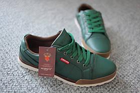 Мужские кроссовки зеленого цвета с каучуковыми накладками  Rich Wolves кожаные 43-46