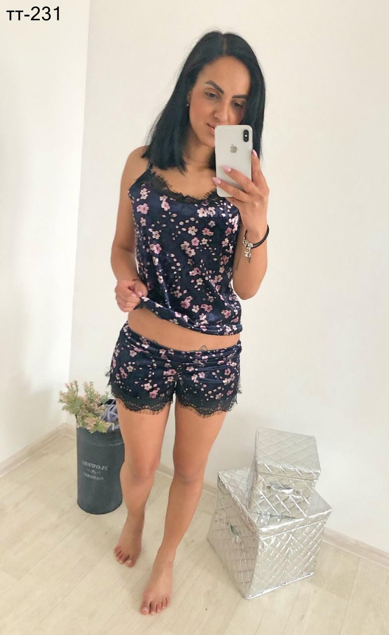 3dcb2b2ceb171 Купить Стильная женская велюровая пижама с майкой и шортами в Одессе ...
