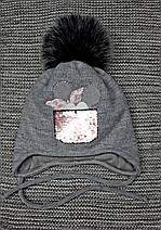 Шапка + хомут детская  на девочку зима серая Ambra (Польша) размер 46 48, фото 3