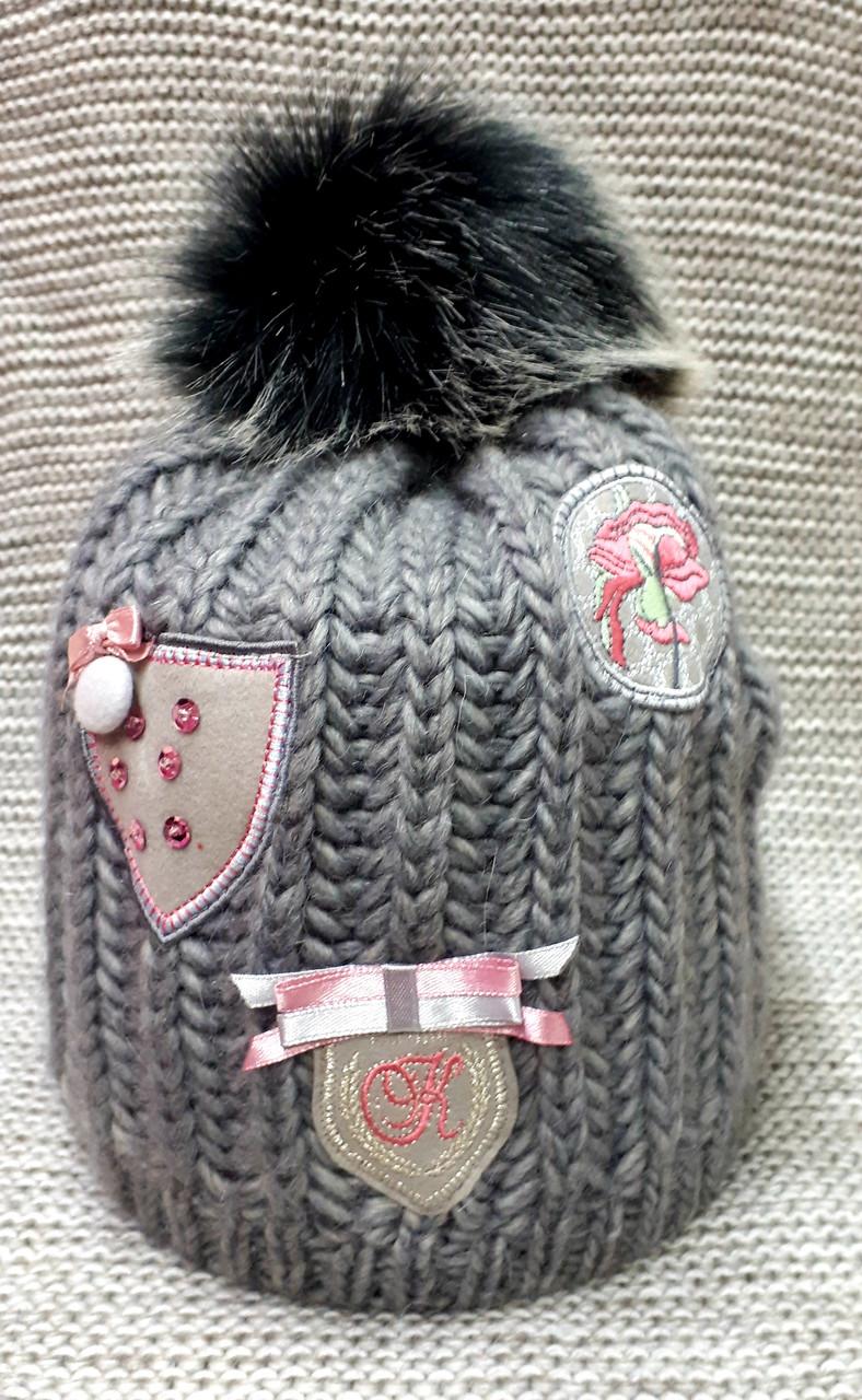 Шапка на девочку зима серого цвета полушерсть с натуральным помпоном  (Польша) размер  52 54 56