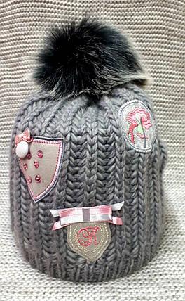 Шапка на девочку зима серого цвета полушерсть с натуральным помпоном  (Польша) размер  52 54 56, фото 2