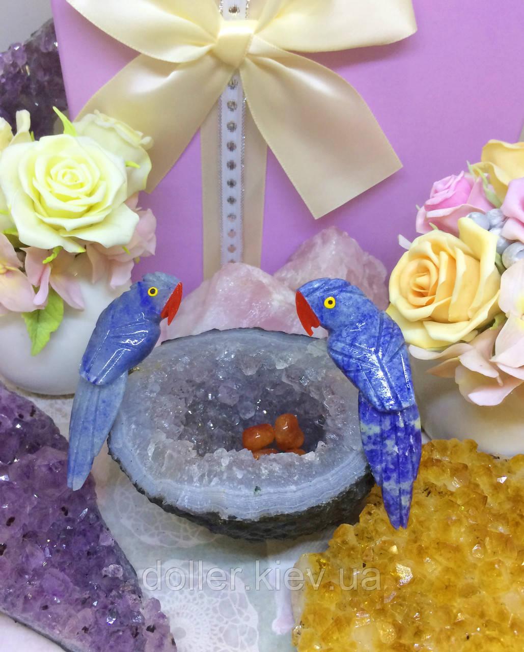 Птички-неразлучники, попугаи из натуральных самоцветов