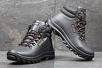 Мужские зимние ботинки Ecco темносиние с красным 3553 (чоловічі черевики  екко взуття зимове обувь зимовая a002e3e359a35
