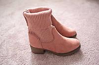 Женские ботинки ковбойки носок вязаный каучук замша 36-41 хит сезона