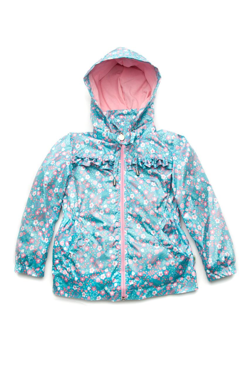 Куртка-ветровка детская для девочки (3-9 лет), бирюзовая