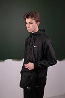 Комплект Ветровка Windrunner Jacket Nike + спортивные штаны, цвет черный. Барсетка в подарок, фото 1