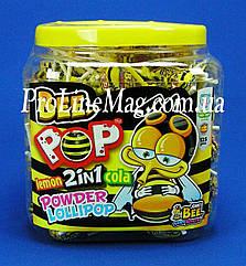 Леденец из сахарной пудры JOHNY BEE® Bee Pop 125 wrapped Кола-лимон 125 шт.