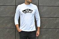 Мужская классическая футболка Vans 100% хлопок джерси в стиле ванс с рукавом 3/4 белого цвета