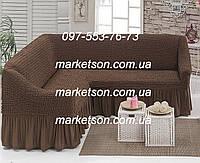 Универсальный натяжной чехол на угловой диван с рюшей