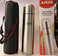 Термос а-плюс, ёмкость 1 литр, крышка с возможностью налива, стальной, нержавейка, чехол для транспортировки