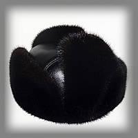 Мужская шапка ушанка из норки на коже (черная)