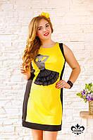 """Летнее женское платье """"Сальса"""" (желтый+черный), фото 1"""