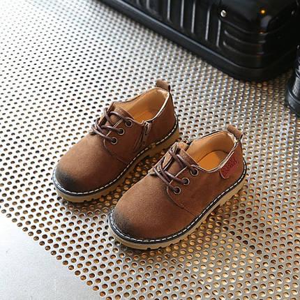 Туфли  детские  на мальчика коричневые  из еко замша, фото 2