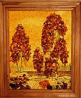 """Картина  янтарь """"Березки в лесу"""""""