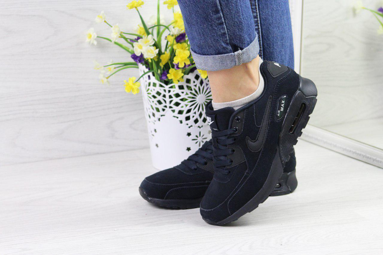 df315440e3df05 Кроссовки женские Nike Air Max 90 темно синие 4368 (жіночі найк взуття  обувь спортивная)