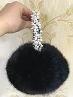 Меховые наушники с жемчугом . Цвет чёрный, фото 1