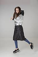 Пальто-трансформер женское серебристо-черное Alberto Bini 6018