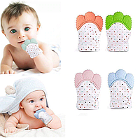 Перчатка - прорезыватель, грызунок для новорожденного. Голубой цвет