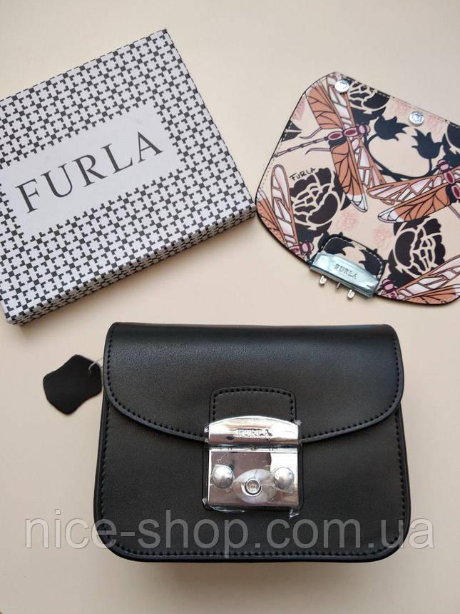 Клатч Фурла Метрополис черный, кожаный, со сменным верхом, фото 2