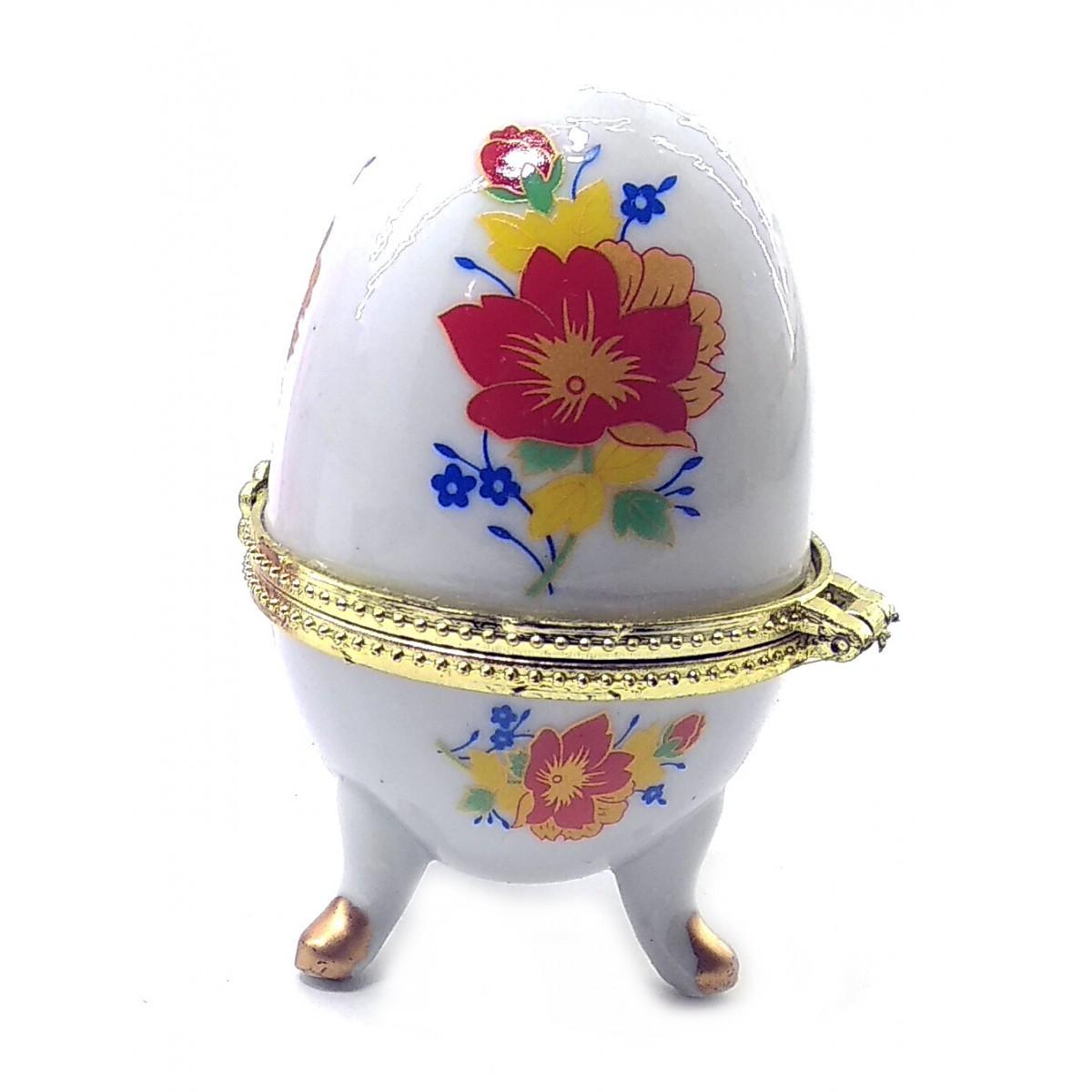 Декоративная шкатулка яйцо Цветы