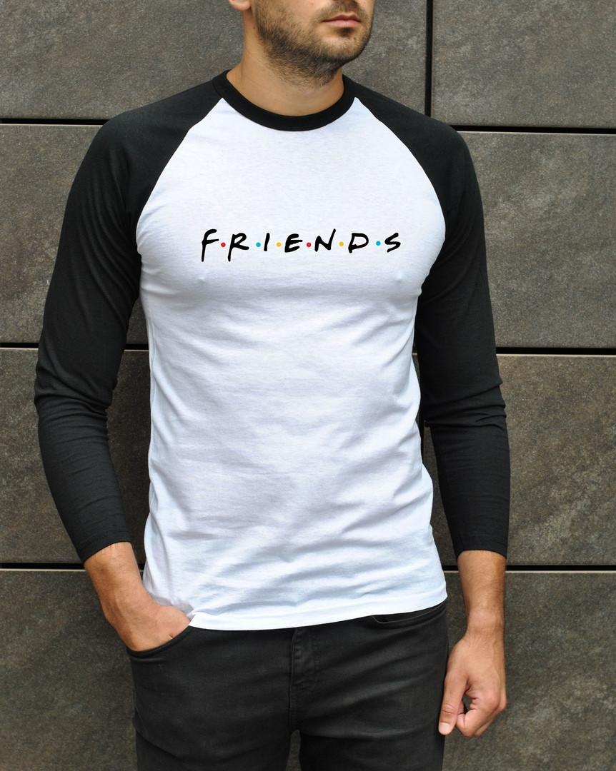Мужская классическая футболка Friends из хлопка с рукавом 3/4 белая с черными рукавами