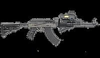 Приклад телескопический FAB для AK 47,полимер / Приклад оружейный черного цвета