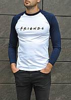Оригинальная мужская футболка Friends на каждый день (белая с синими рукавами), ТОП-реплика