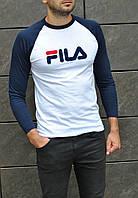 Весенняя мужская футболка Fila с надписью и длинными рукавами (белая), ТОП-реплика