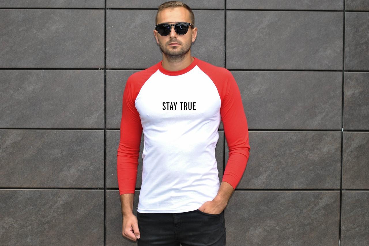 Повседневная летняя футболка мужская Stay True качественная яркая с длинными красными рукавами