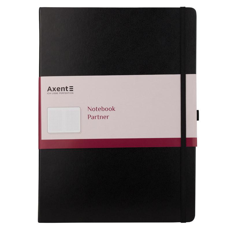 Книга записная Axent Partner Grand, 295*210, 100л, клетка, черная 8203