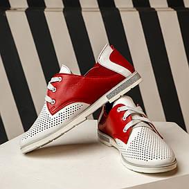 Туфли женские 19254. 1к белый с красным