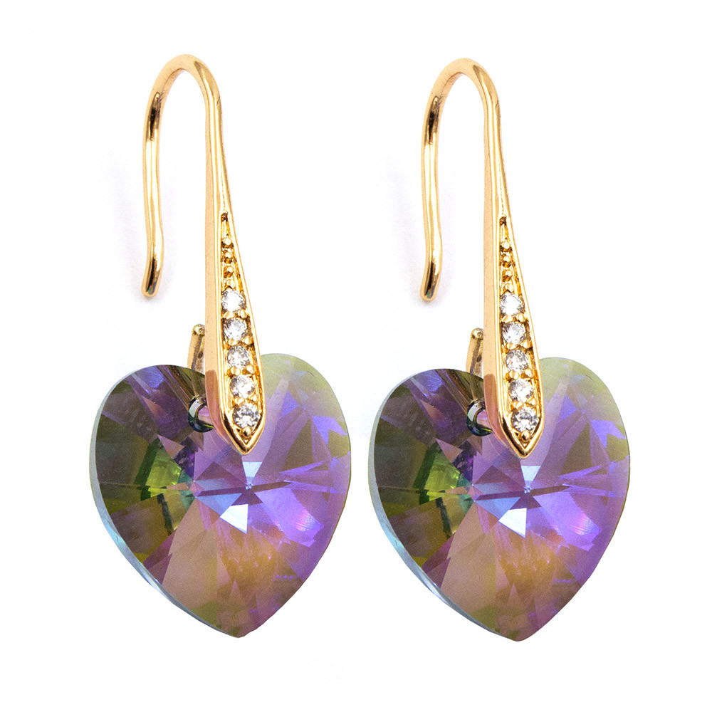 Серьги «Сердца» лим. позолота Swarovski Crystals 3 см