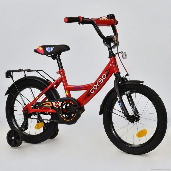 """Велосипед 16"""" дюймов двухколесный детский С16320 """"CORSO"""" (1) КРАСНЫЙ, ручной тормоз, звоночек, сидение с ручкой, доп. колеса, СОБРАННЫЙ НА 75% в"""