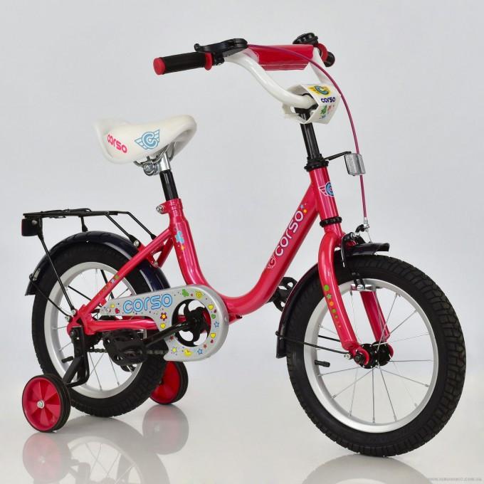 """Велосипед 14"""" дюймов двухколесный детский С14560 """"CORSO"""" (1) РОЗОВЫЙ, ручной тормоз, звоночек, сидение с ручкой, доп. колеса, СОБРАННЫЙ НА 75% в"""