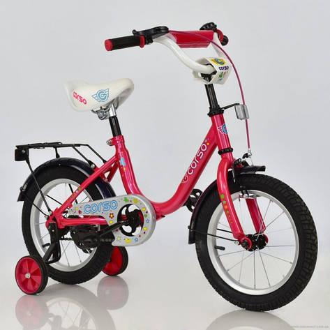 """Велосипед 14"""" дюймов двухколесный детский С14560 """"CORSO"""" (1) РОЗОВЫЙ, ручной тормоз, звоночек, сидение с ручкой, доп. колеса, СОБРАННЫЙ НА 75% в, фото 2"""