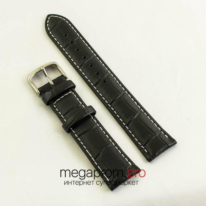 Кожаный ремешок для часов 20 мм черный (06462) реплика
