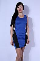 Платье женское синее с черными вставками 2579