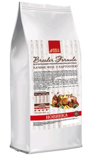 Home Food беззерновой для взрослых собак утиное филе с картошкой средняя гранула 10мм