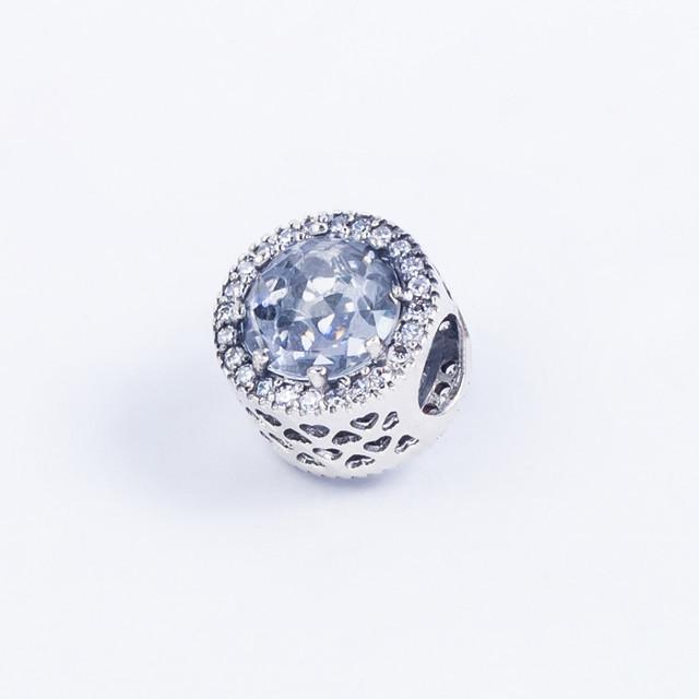 Серебряный Шарм (бусина) «Кристалл» в стиле Pandora (Пандора) с камнями