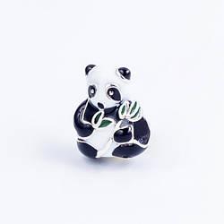 Серебряный шарм (бусина) «Панда» в стиле Pandora (Пандора) с эмалью