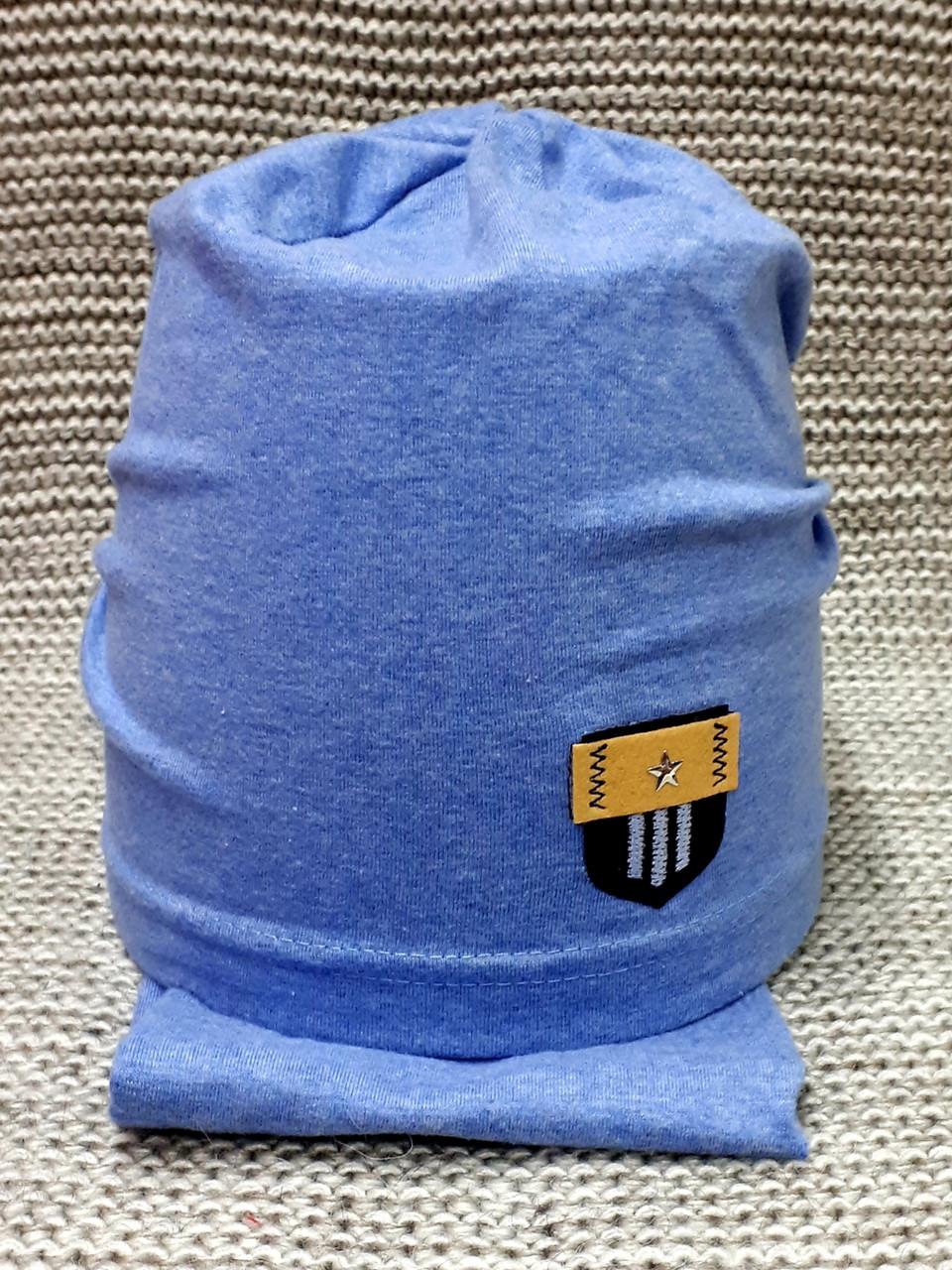 Комплект шапка + хомут  на мальчика весна-осень синяя Fido (Польша) размер 46 48 50